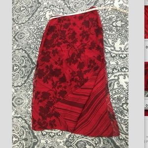 Anne Klein II Red Silk Floral Layered Skirt 10